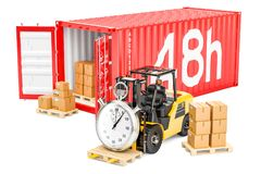 48 hours fast cargo shipping concept, 3D. Rendering royalty free illustration