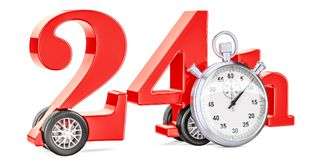 24 hours fast delivery concept, 3D rendering. Isolated on white background Royalty Free Stock Image
