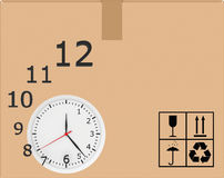 Hours with flying digits on background of carton Stock Images