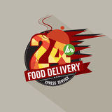 24 Hours Food Delivery Service. Illustration Stock Photo