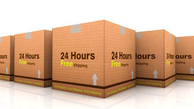 24 hours free shipping cardbox. White background Royalty Free Stock Photography