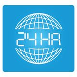 24 hours. And globe symbol in blue button Royalty Free Stock Photos