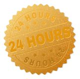 Golden 24 HOURS Medal Stamp. 24 HOURS gold stamp seal. Vector gold medal of 24 HOURS text. Text labels are placed between parallel lines and on circle. Golden Royalty Free Stock Images