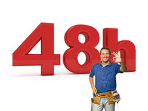 48 hours handyman service. 3d image of 48h and smiling handyman Stock Photo