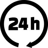 24 hours icon black. 24 hours icon with black arrow Stock Photos