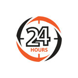 24 hours icon. 24 hours within a circle of clock, icon design, isolated on white background Stock Photos