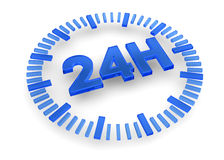 24 Hours icon - 3D. 24 hours icon on white background Royalty Free Stock Photos