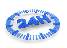 24 Hours icon - 3D. 24 hours icon on white background Royalty Free Stock Photography