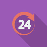 Hours 24. 24 hours icon. Flat vector related icon with long shadow for web and mobile applications. It can be used as - pictogram, icon, infographic element Stock Photos