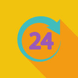 Hours 24. 24 hours icon. Flat vector related icon with long shadow for web and mobile applications. It can be used as - pictogram, icon, infographic element Royalty Free Stock Images