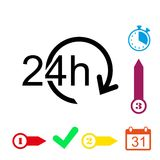 24 hours icon stock vector illustration flat design Royalty Free Stock Photos