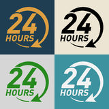 24 hours icon. Support and service - around the clock or 24 hours a day icon vector illustration