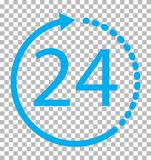 24 hours icon on transparent background. 24 hours service sign. 24 hours symbol Royalty Free Stock Images