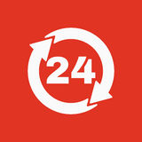 The 24 hours icon. Twenty-four hours open symbol.  Stock Photography