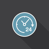 24 hours icon vector isolated on black . 24 hours icon vector isolated on black Royalty Free Stock Photos