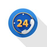 24 Hours icon. On white background Royalty Free Stock Photos