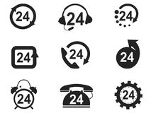 24 Hours Icons set. Isolated 24 Hours Icons set from white background Stock Image