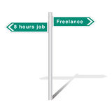8 hours job vs freelance Royalty Free Stock Image