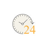 24 hours line icon, customer service, support Royalty Free Stock Images
