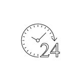 24 hours line icon, customer service, support Stock Photos