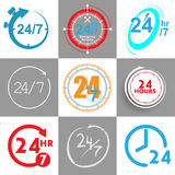 24 hours logo elements. In vector stock illustration
