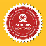 24 hours monitored. Illustration related to security concept of monitoring 24 hours non stop Royalty Free Stock Photo