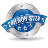 24 hours non stop. Button 24 hours non stop Royalty Free Stock Photo