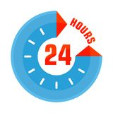 24 hours open blue. Open around clock. 24 hour service and customer support. Flat vector cartoon illustration. Objects isolated on a white background Stock Photos