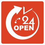 24 Hours Open icon.  Stock Images