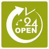 24 Hours Open icon Royalty Free Stock Photos