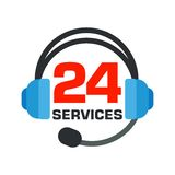 24 hours open. Logo as headphones. Open around clock. 24 hour service and customer support. Flat vector cartoon illustration. Objects isolated on a white Stock Photography