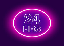 24 hours open sign, purple neon billboard. Vector illustration Royalty Free Stock Photography