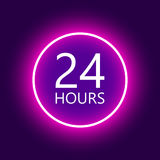 24 hours open sign, purple neon billboard vector illustration.  Royalty Free Stock Photography