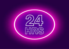 24 hours open sign, purple neon billboard vector illustration.  Stock Photography