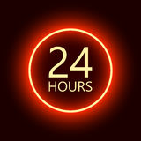 24 hours open sign. Red neon billboard vector illustration vector illustration