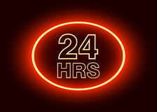 24 hours open sign. Red neon billboard vector illustration Stock Photo