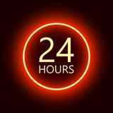 24 hours open sign, red neon billboard vector illustration.  Royalty Free Stock Photo