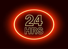 24 hours open sign, red neon billboard vector illustration.  Royalty Free Stock Image