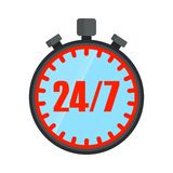 24 hours open stopwatch. Logo as stopwatch. Open around clock. 24 hour service and customer support. Flat vector cartoon illustration. Objects isolated on a Royalty Free Stock Photo