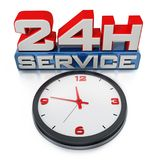 24 hours open text and clock isolated on white background. 3D illustration.  Stock Image