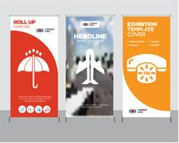 24 hours phone service, Airplane in vertical ascending position, Black opened umbrella roll up. 24 hours phone service modern business roll up banner design Stock Images