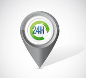 24 hours pointer locator illustration Royalty Free Stock Images