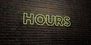 HOURS -Realistic Neon Sign on Brick Wall background - 3D rendered royalty free stock image. Can be used for online banner ads and direct mailers Royalty Free Stock Photos
