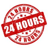 24 hours red rubber stamp. Vector illustration isolated on white background Stock Photography