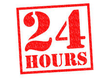 24 HOURS. Red Rubber Stamp over a white background Stock Image