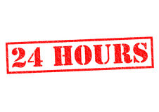 24 HOURS. Red Rubber Stamp over a white background Royalty Free Stock Photo