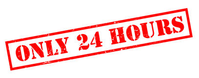 Only 24 hours red stamp. Isolated on white background Royalty Free Stock Photography
