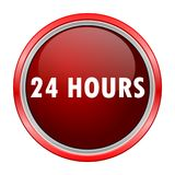 24 Hours round metallic red button. Vector icon Stock Photography