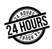 24 Hours rubber stamp. Grunge design with dust scratches. Effects can be easily removed for a clean, crisp look. Color is easily changed Stock Photography