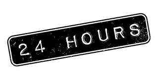 24 Hours rubber stamp. Grunge design with dust scratches. Effects can be easily removed for a clean, crisp look. Color is easily changed Royalty Free Stock Photo